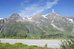 High alpine road at the Grossglockner Hochalpenstrasse - stock photo