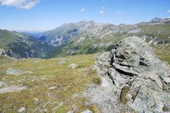 Mountain view in Austria at the Grossglockner Hochalpenstrasse - stock photo