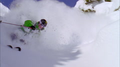 Skier skiing on mountain slope Stock Footage
