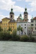St. James cathedral in Innsbruck at the river Inn Stock Photos