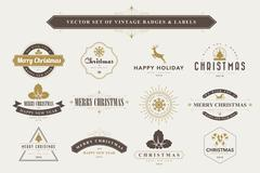 Merry Christmas and Happy New Year typographic background Stock Illustration