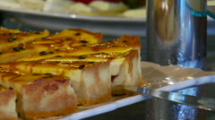 Close-up of sliced cake in restaurant Stock Footage