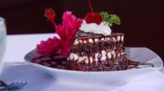 Dessert served on restaurant table Stock Footage