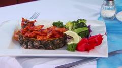 Salad on plate Stock Footage