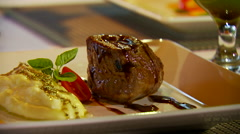 Appetizer on dish - stock footage