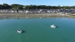 Cancale, french Britain,sea and city with drone 4 Stock Footage