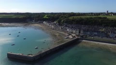 Cancale, french Britain,sea and city with drone 3 Stock Footage