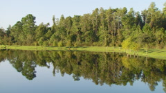 Reflection of trees in lake Stock Footage
