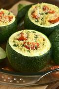 Baked Stuffed Round Zucchini Stock Photos