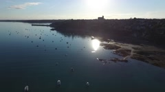 Cancale, french Britain,sea and city with drone 9 Stock Footage