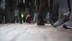 Feet on the street - in super slow motion Stock Footage
