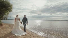 Groom and bride holding hands walking together along the beach under the tree Stock Footage