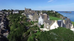 Cancale, french Britain,sea and city with drone 2 Stock Footage