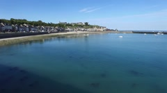 Cancale, french Britain,sea and city with drone 1 Stock Footage