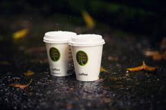 hot coffee in cold weather - stock photo