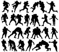 American Football, Sport, Athlete, Silhouette Stock Illustration