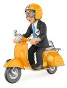 3D Businessman going to work by scooter motorcycle Piirros