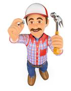 3D Handyman hammering a nail with a hammer Stock Illustration