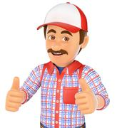 3D Handyman with two thumbs up - stock illustration