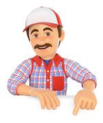 3D Handyman pointing down. Blank space Stock Illustration