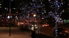 Holiday Street with Festive Lights Stock Footage