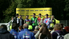 The competitors of the car race are on stage Stock Footage