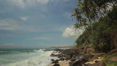 Ocean waves rolled onto the shore of a tropical island. Sri Lanka - stock footage