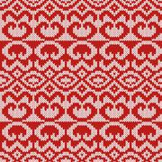Knitted Seamless Pattern in Gray and Red - stock illustration