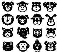 Animal Faces, Animal Icons, Silhouettes, Zoo, Nature Piirros