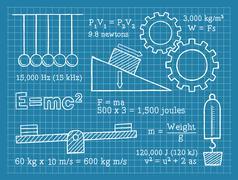 Physics, Science, School, Blueprint - stock illustration