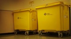 Medical Waste Bins in hospital Stock Footage
