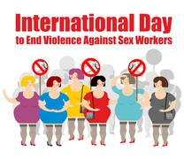 Meeting of prostitutes. Women hold placards. Sign stop violence. Internationa - stock illustration