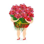 Woman holding large bouquet of roses. Girl and lots of color. Congratulation  - stock illustration