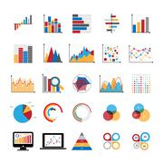 Graphic charts diagrams and business graphs icons set. Stock Illustration