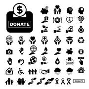 Charity and donation icons set Stock Illustration
