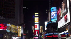Billboards and flashing signs in downtown New York City Times Square 4k Stock Footage