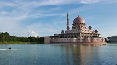 A lake with water sport activity At Putrajaya - stock footage