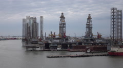 Galveston Texas industrial off shore oil platforms fast 4K Stock Footage