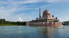 A lake with water sport activity At Putrajaya Stock Footage