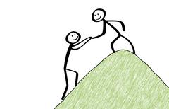 Stickman helps another to climb the hill - stock illustration