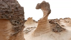 Incredible balance of thin hoodoo stone, Yehliu Geopark odd shapes Stock Footage