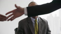 Business People Shaking Hands At Office Meeting With Advisor Stock Footage