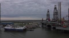 Galveston Texas off shore oil platforms industry 4K Stock Footage