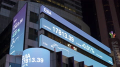 Digital stock market ticker in downtown New York City 4k Stock Footage
