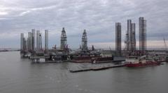 Galveston Texas off shore oil platforms port industrial 4K Stock Footage