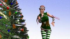 Santa  dancing around the Christmas tree, animations - stock footage