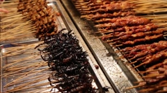 Grilled scorpions and meat pork on skewers are on the counter Stock Footage