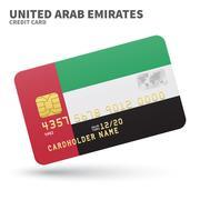 Credit card with United Arab Emirates flag background for bank, presentations - stock illustration