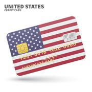 Credit card with United States flag background for bank, presentations and - stock illustration