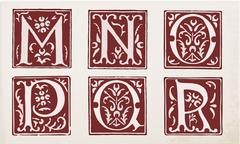 Stock Illustration of vector set of letters in the old vintage style. Part 3.